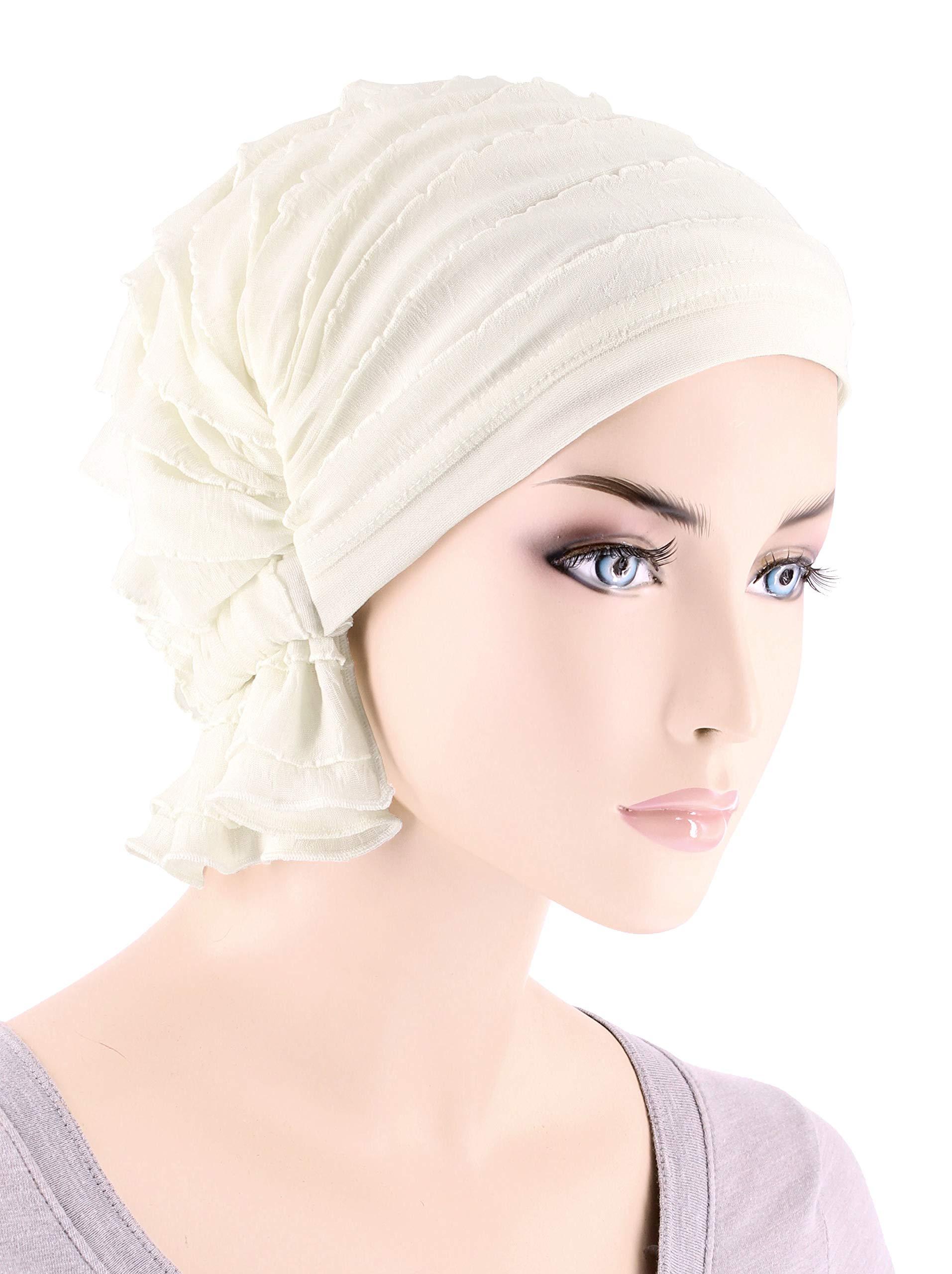faafff756bf Abbey Cap Womens Chemo Hat Beanie Scarf Turban Headwear for Cancer Ruffle  Ivory