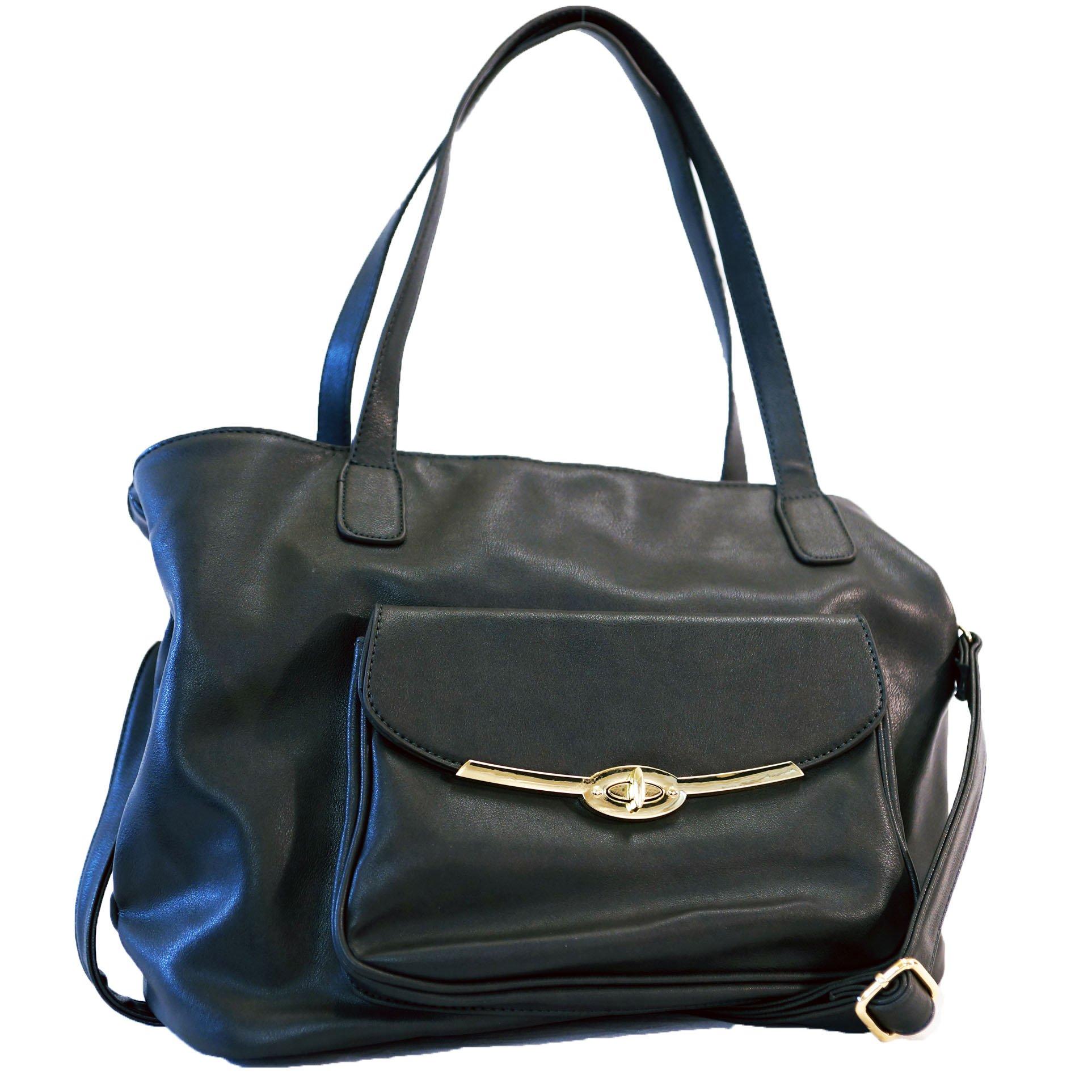 Got Oil Supplies Essential Oils Hobo Bag for Women - Dark Gray Leather Designer Handbag Purse with 16 Elastic Pockets