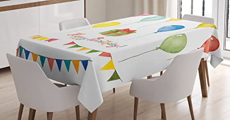 Ambesonne Birthday Decorations Tablecloth Watercolor Set For Celebration Flags Surprise Box Balloons Happy Wish