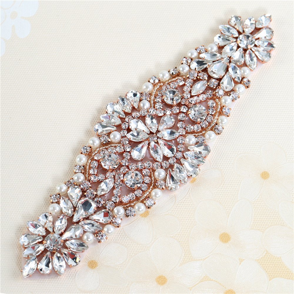 XINFANGXIU Wedding Sash Belt Bridal Wedding Dress Applique, Bridal Wedding Sash Crystal Belt Pearls Beaded Embellishments for Women Formal Dresses Sewn or Hot Fix - Rose Gold