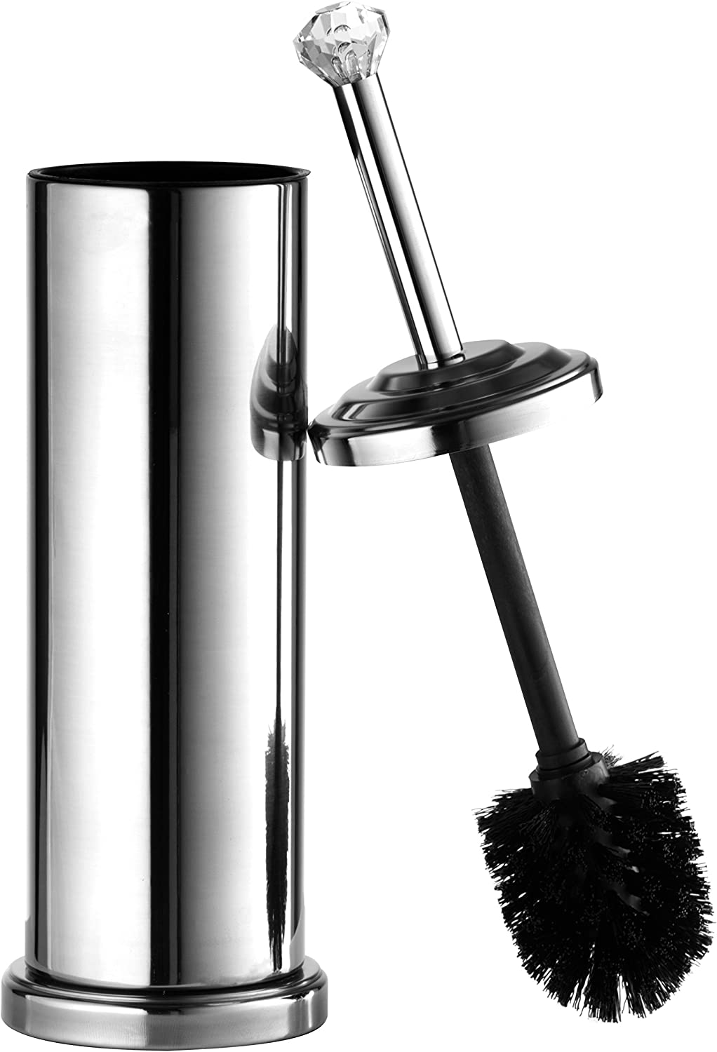 TB112A CHR AMG and Enchante Accessories Chrome Diamond Toilet Brush and Holder
