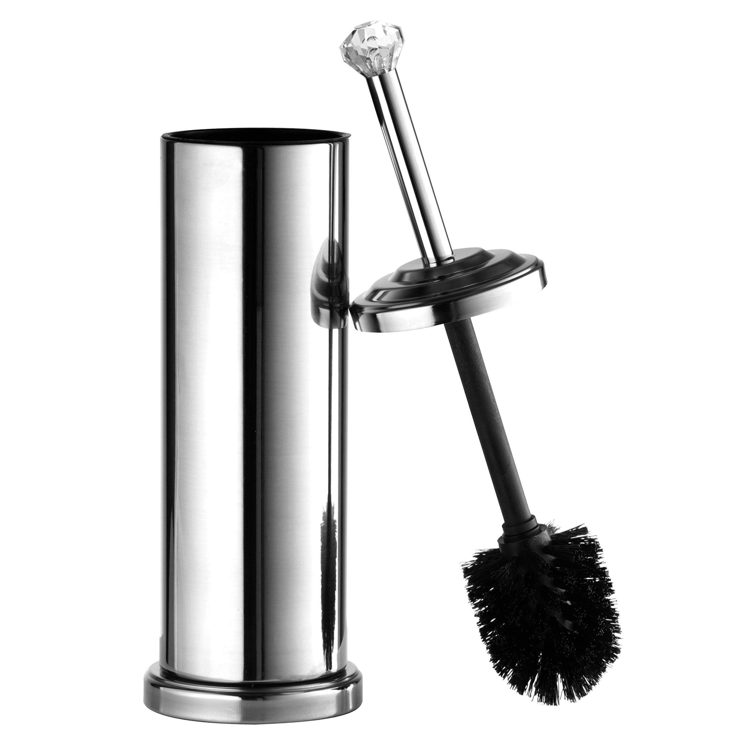 AMG and Enchante Accessories, Diamond Toilet Brush and Holder, TB112A CHR, Chrome