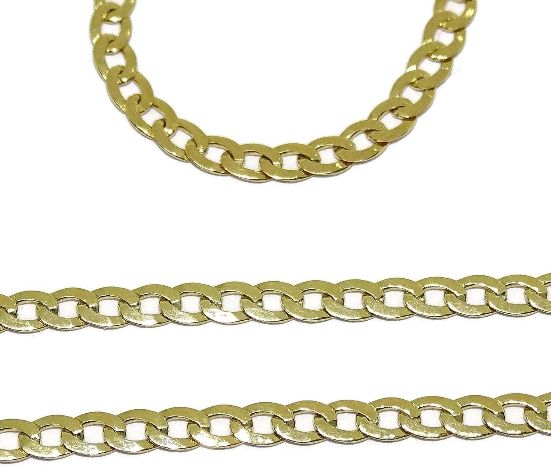 Cadena de Oro Amarillo de 18k para Hombre Maciza Tipo barbada de 60cm de Larga y 3mm de Ancha
