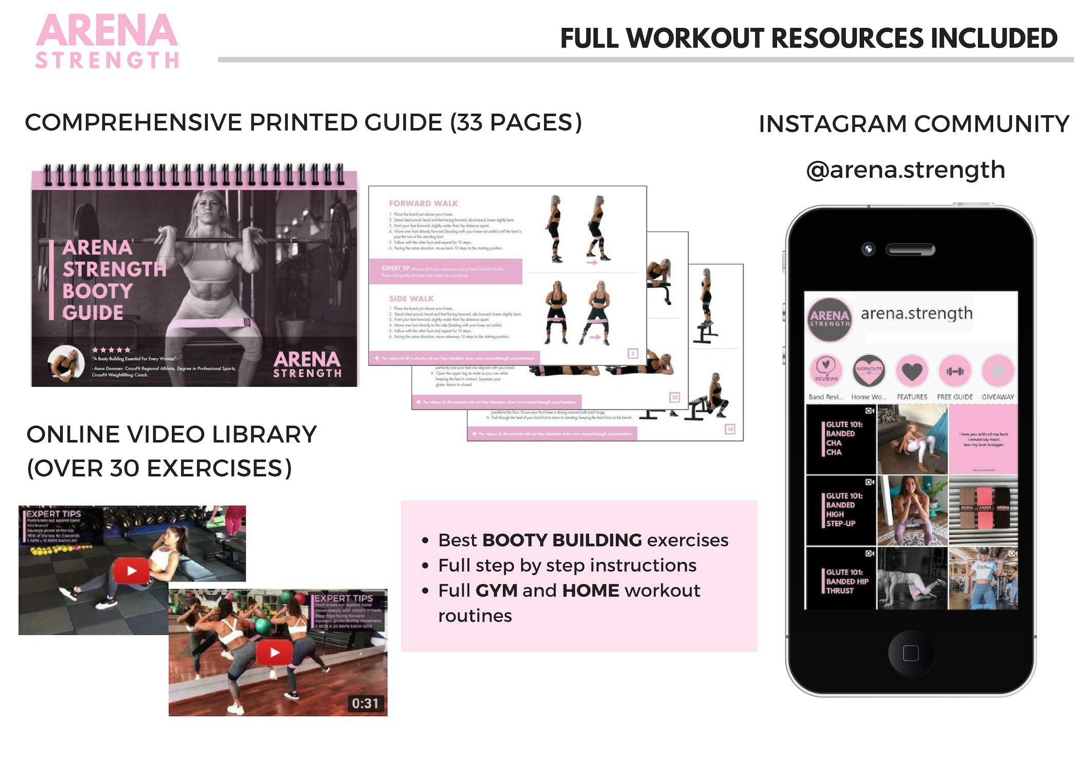Arena Strength Booty Fabric Bands: Fabric Resistance Bands for Legs and Butt: 3 Pack Set. Perfect Workout Hip Band Resistance. Workout Program and Carry Case Included by Arena Strength (Image #3)