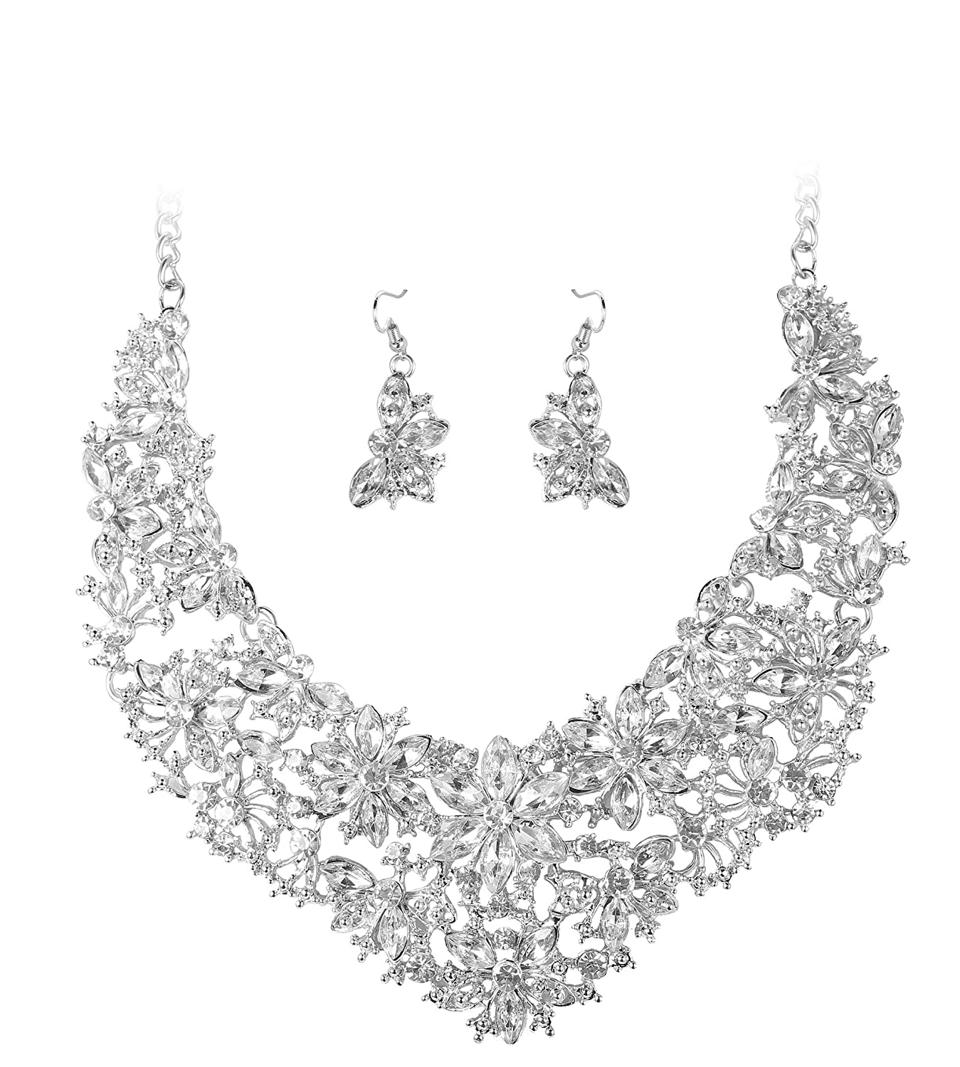 ORAZIO Rhinestone Necklace Earring Set for Women Girls Bridesmaid Jewelry Sets For Wedding NC22-SW