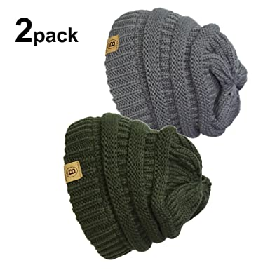 Unisex Winter Chunky Soft Stretch Cable Knit Slouch Beanie Skully Hat Charcoal