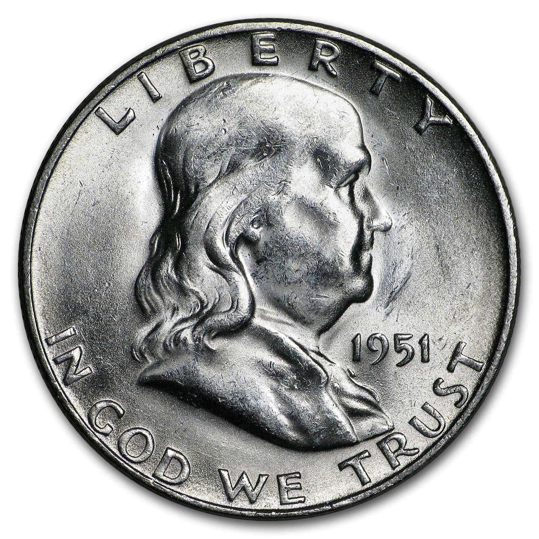 Fine Silver Franklin Half Dollar 1951-S US