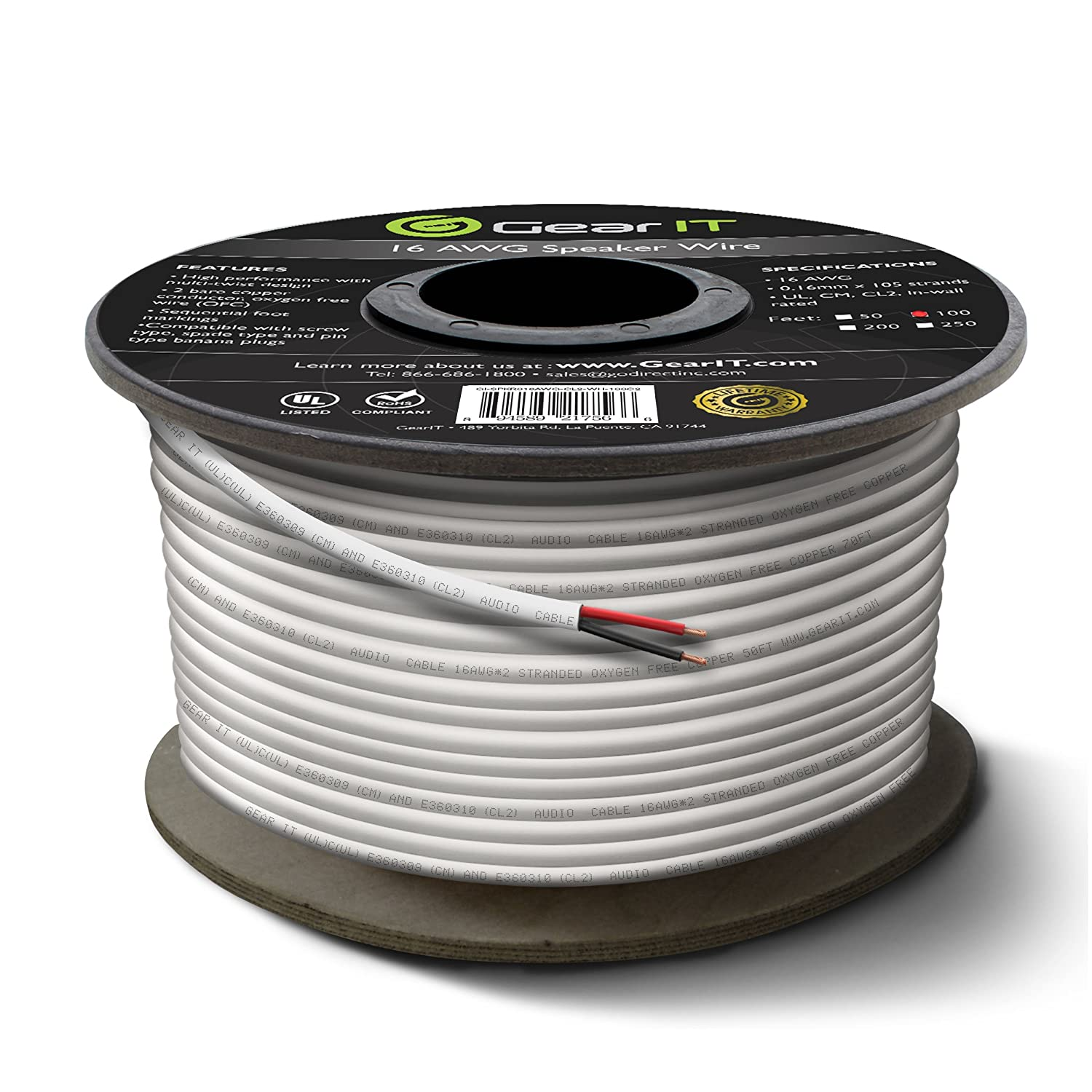 New 16 AWG CL2 OFC In Wall Speaker Wire, GearIT Pro Series 16 AWG ...