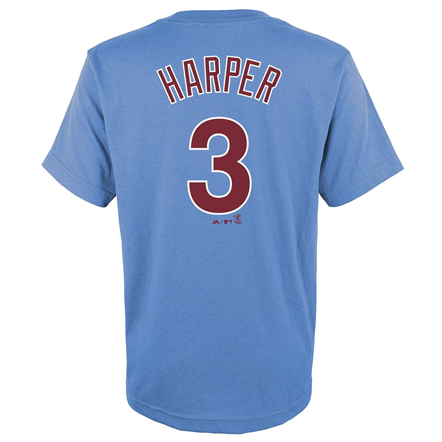 Outerstuff Bryce Harper Philadelphia Phillies #3 Blue Youth Alternate Name /& Number Jersey T-Shirt