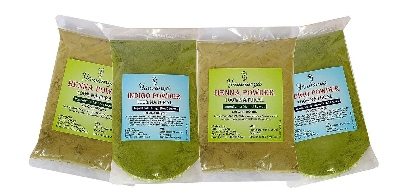 Yauvanya Combo 100% pure Henna powder for hair 2X100 gms + Yauvanya 100% pure Indigo Powder for hair 2X100 gms Drishti Herbals