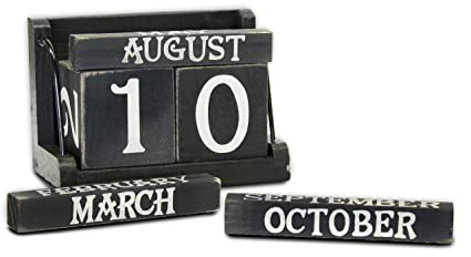 Amazon Com Wooden Block Calendar Black And White Perpetual By