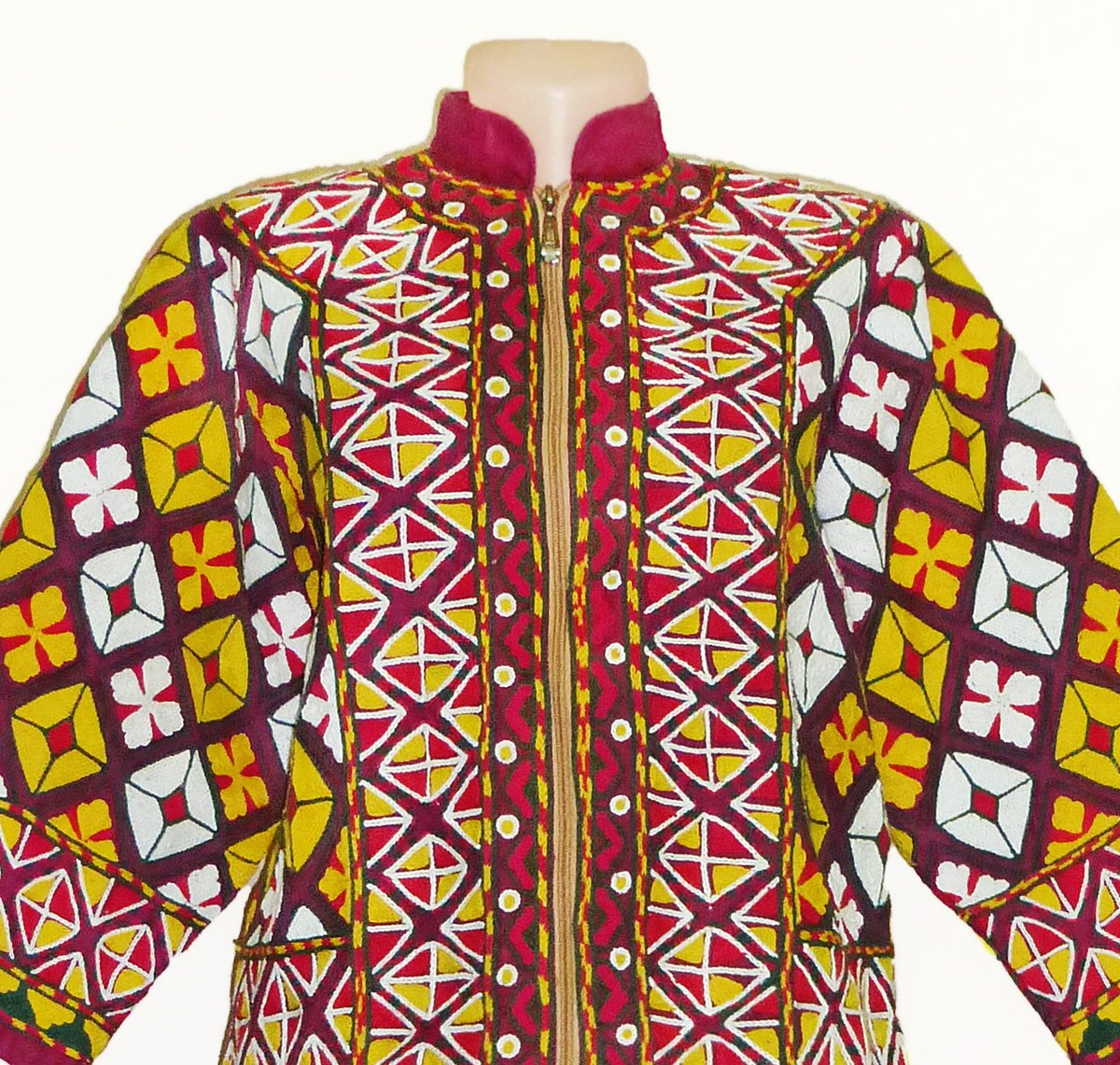 stunning uzbek fully handmade silk embroidered jacket outwear b741 by East treasures