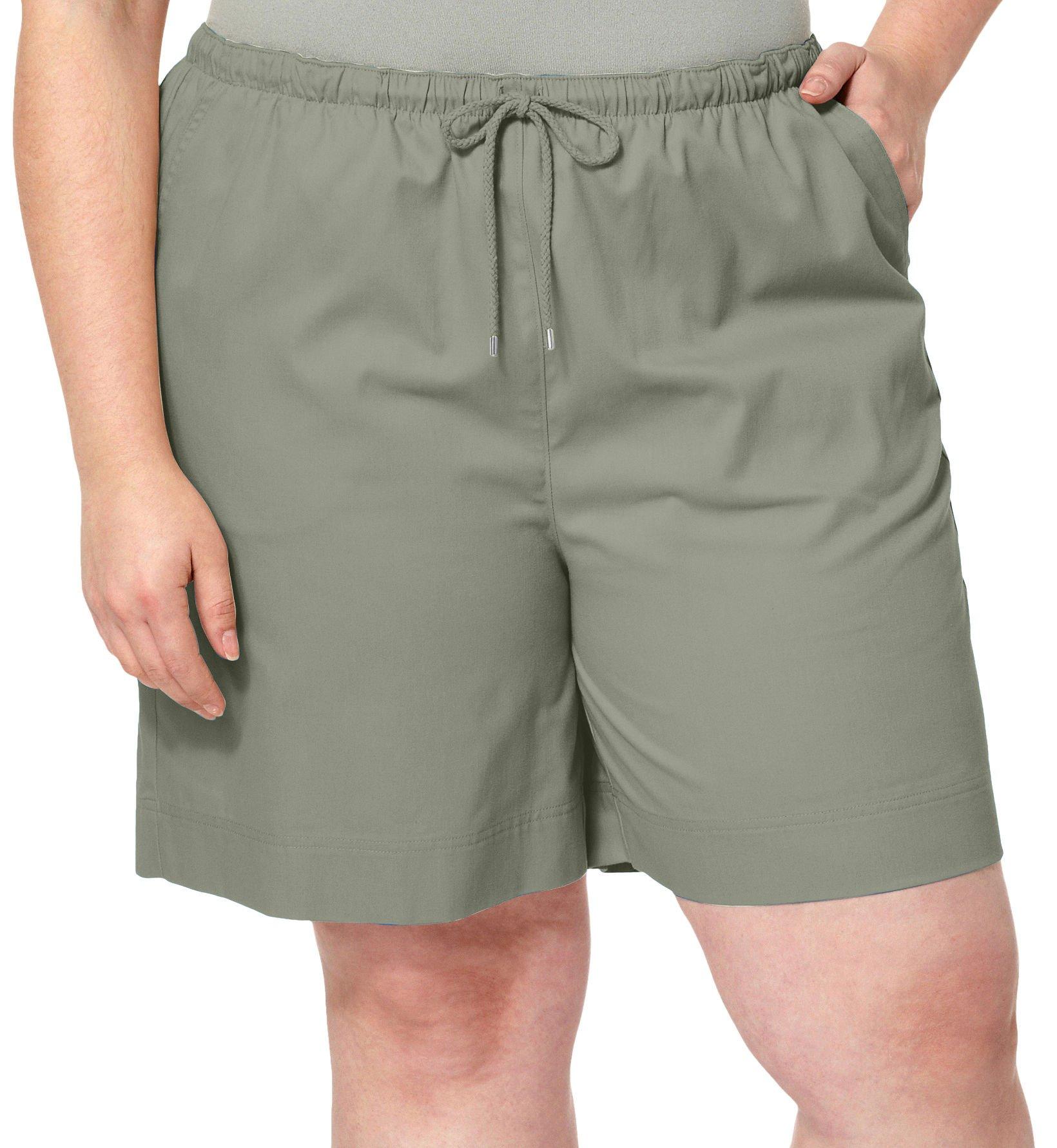 Coral Bay Plus Pull On Drawstring Shorts 2X Shadow Green