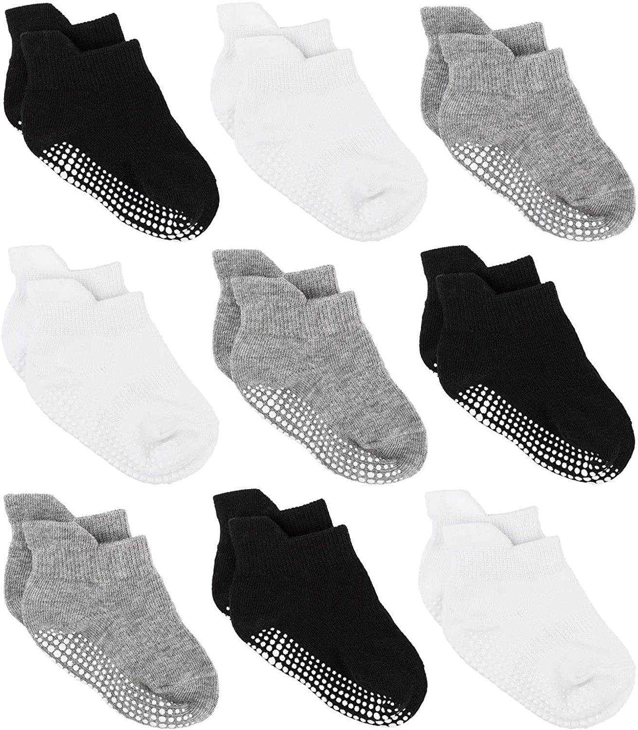 Zaples Baby Non Slip Grip Ankle Socks with Non Skid Soles for Infants Toddlers Kids Boys Girls: Clothing