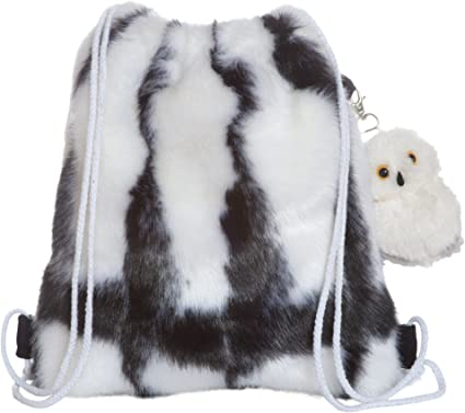 Manhattan Toy Fuzzy Black and White Drawstring Back Pack with Clip-on Owl Stuffed Animal