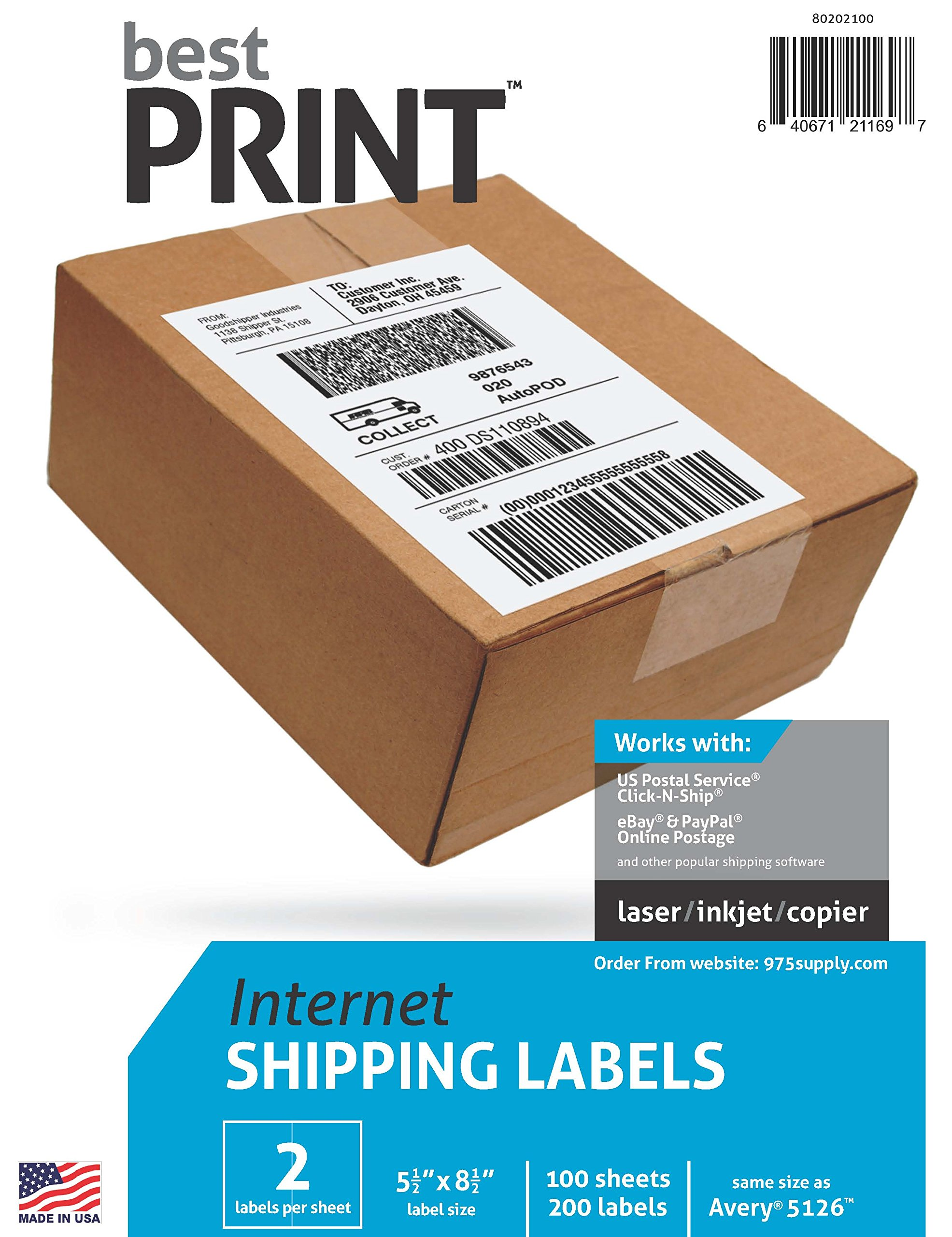 Address Labels - Best Print Brand - 1000 Half Sheet - Best Print Shipping Labels - 5-1/2'' x 8-1/2''