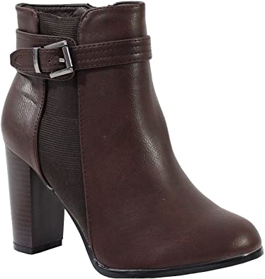 By Shoes Bottine Style Cuir Femme Taille 41 Camel