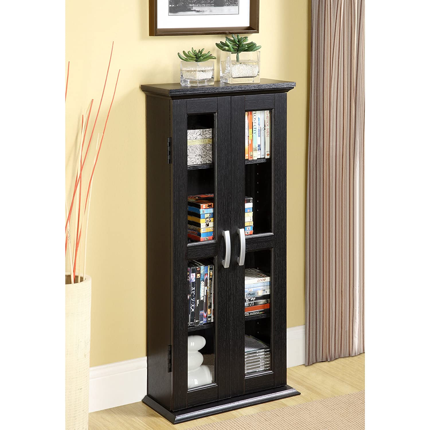 amazon com walker edison 41 media storage cabinet black kitchen rh amazon com cd dvd storage cabinets wood Large DVD Storage Cabinet
