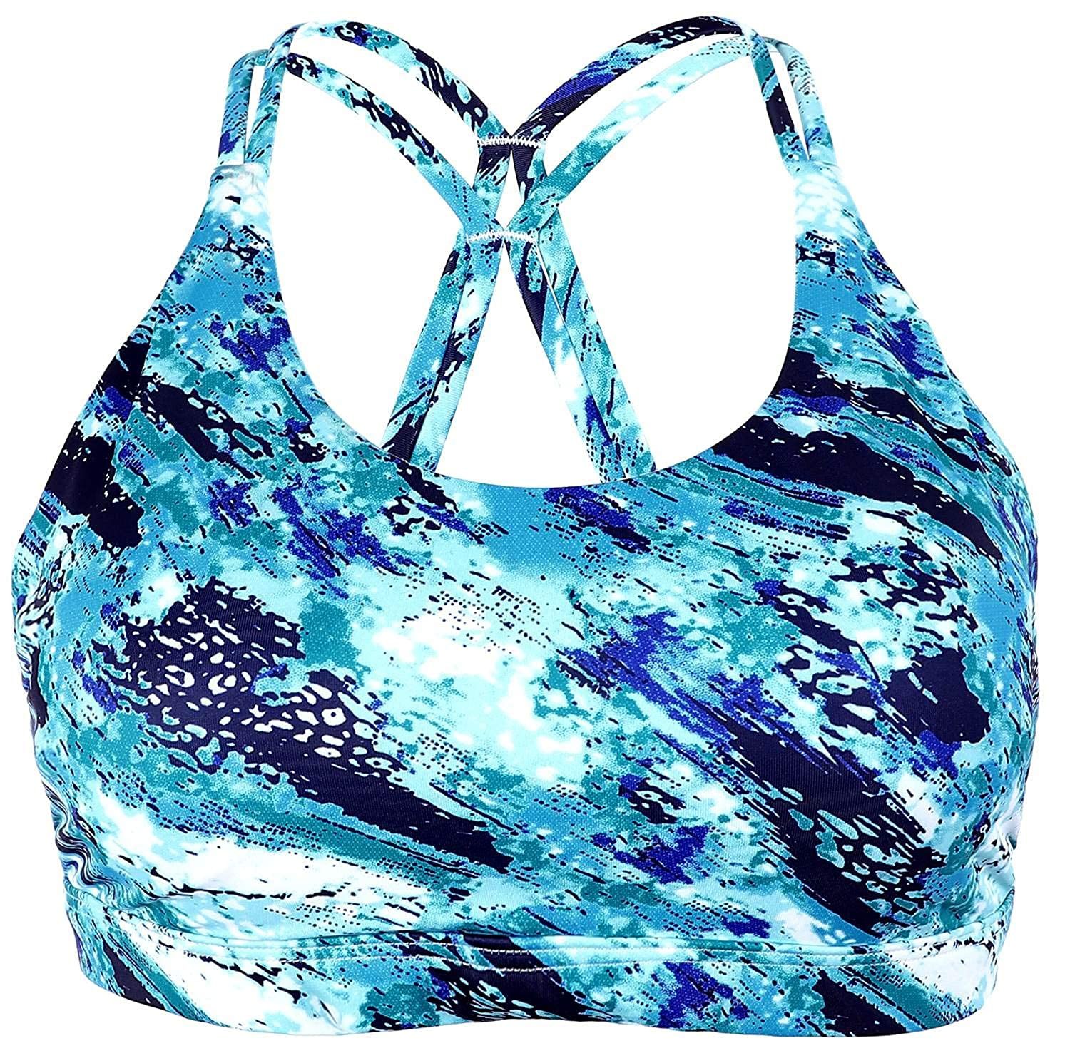bluee Camo ATTRACO Women's Light Support Workout Sports Bra Running Yoga Cross Back Wire Free
