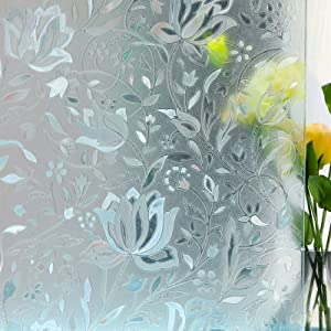 Mikomer Tulip Decorative Window Film,No Glue Frosted Privacy Film,Stained Glass Door Film,Reflective Static Cling Heat Control Anti UV Window Decoration for Home and Office,17.5 inches by 78.7 inches
