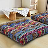 HIGOGOGO Boho Cushion, Large Pouf Cushion Mandala Floor Pillow Square Meditation Yoga Seating Cushion Cotton Linen Indian Pillow for Home Decor Garden Party, 22x22 Inch, Stripe Blue