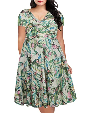 8533e54f7f1 oxiuly Women s Grass Green Vintage V-Neck Cap Sleeve Floral Casual Cocktail  Party Swing Plus