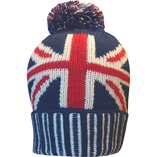 4e30169e593b9 Image Unavailable. Image not available for. Color  Men s Great Britain  Union Jack Thermal Knitted Winter Beanie Bobble Hat