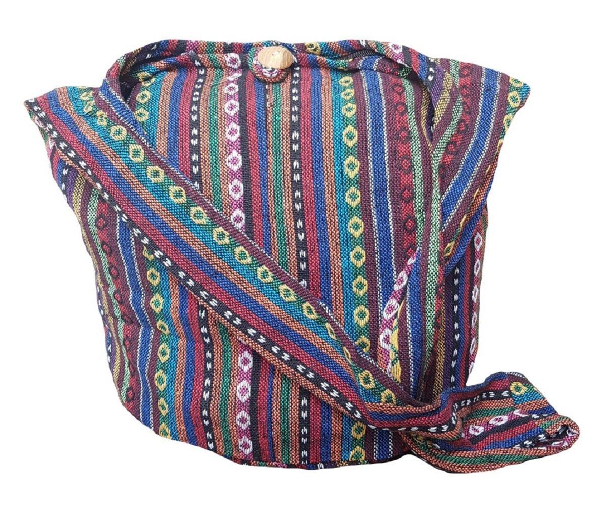 BTP! Thai Cotton Sling Bag Purse Crossbody Messenger Hippie Hobo Hand Woven Ikat (Multicolored A101)