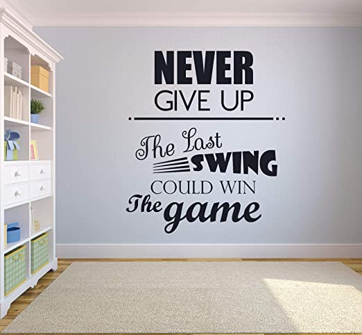 Never Give Up Vinyl Wall Mirror Decal Room Decor Sticker Motivation Cute Quote