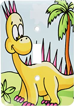 3drose Lsp 116528 1 Cute Silly Yellow And Pink Spikey Dinosaur Dino Cartoon Scene Single Toggle Switch Switch Plates Amazon Com