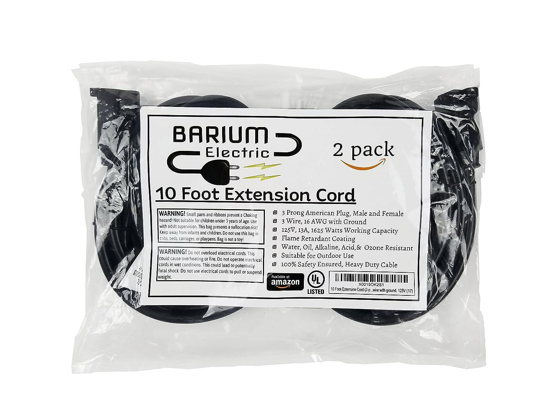 10 Ft Extension Cord 2 Pack Black 10 foot | 16 AWG | 1625 Watt | 13 ...