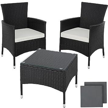 TecTake Poly rotin set de jardin | 2 chaises et petite table à ...