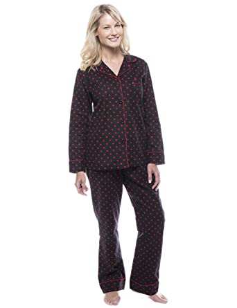 404ece773803 Noble Mount Women s Cotton Flannel Pajama Set - Dots Diva Black Red - Small