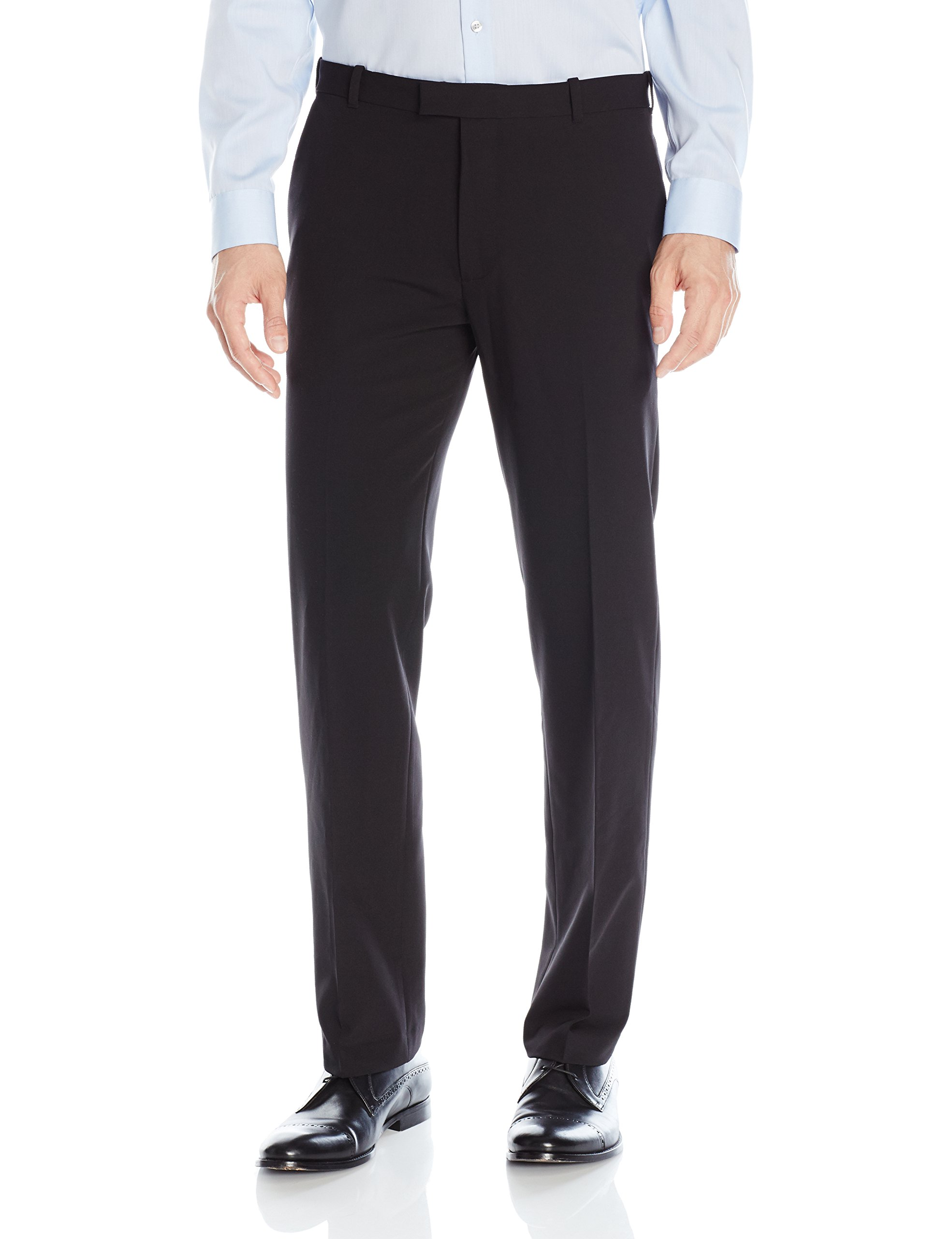 Van Heusen Men's Flex Straight Fit Flat Front Pant, Black, 34W x 32L