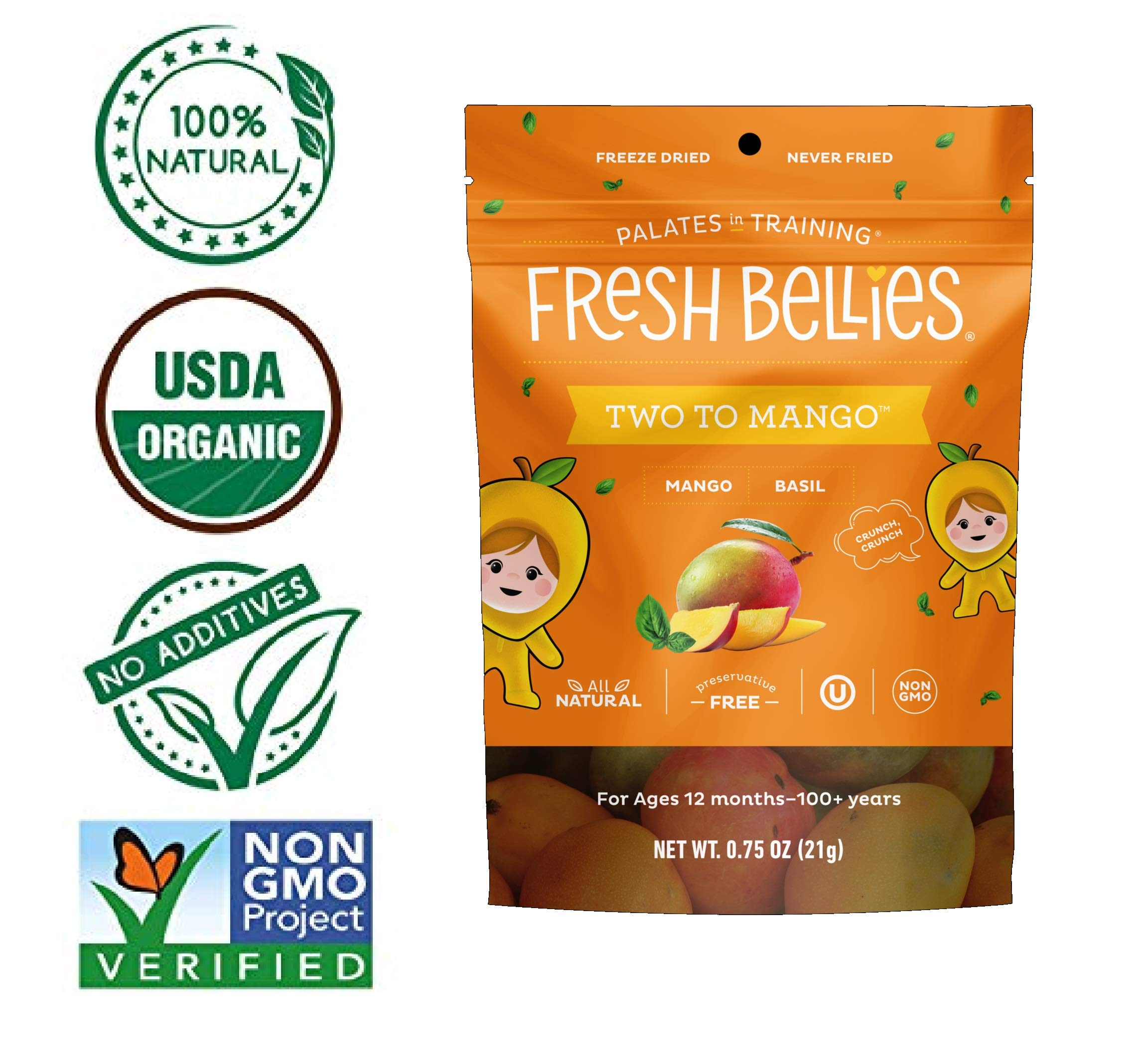 Fresh Bellies Toddler Snack, Two To Mango, 0.75oz (Pack of 6)