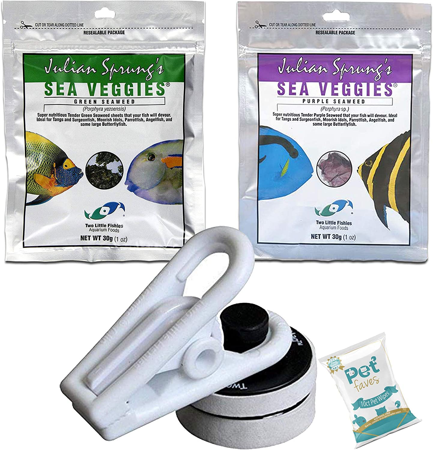 Pet Faves (3 Pack) Two Little Fishies Sea Veg-Green and Purple 1oz with Veggiemag Seaveggie Clip Accessory and 10ct Wipes