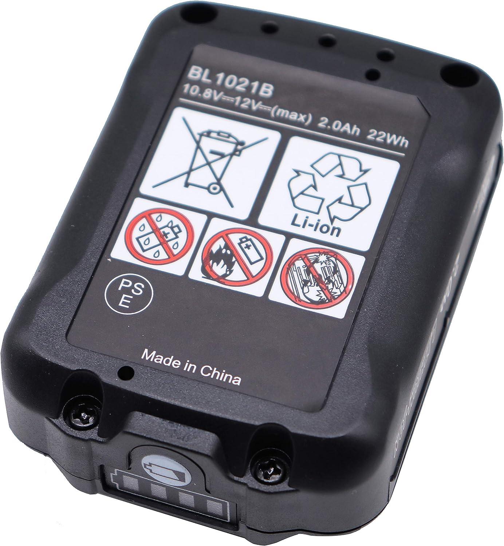 BL1016 Golem-power 2PCS BL1021B 12V, 2000mAh BL1041B Bater/ía de ion de litio para herramientas el/éctricas Makita Tool DF031D DF0331D TD110D HSS01D HP332D DC10SB JR103D JR105D DC10WA 197339-1