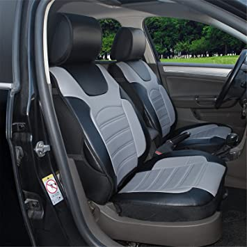 180204S Black Grey 2 Front Car Seat Cover Cushions Leather Like Vinyl Compatible