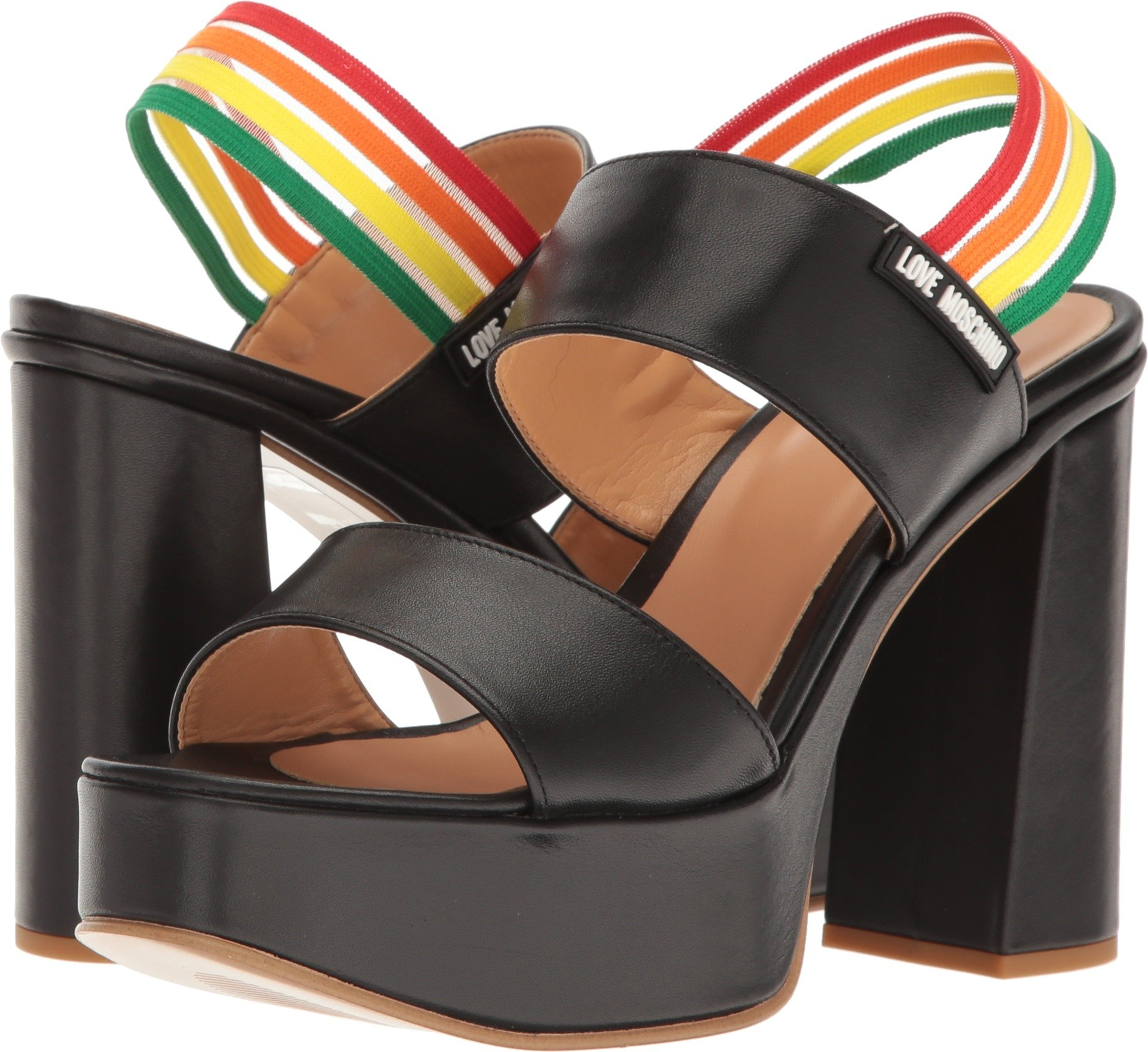Love Moschino Women's Rainbow Strap Chunky Heels Black Shoe