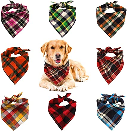 KZHAREEN 4 Pack Adopt Me Dog Bandana Printing Plaid Reversible Triangle Bibs Scarf Accessories for Dogs Cats