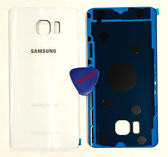 Md0410 Galaxy Note 5 OEM WHITE PEARL Rear Back Glass Lens Battery Door Housing