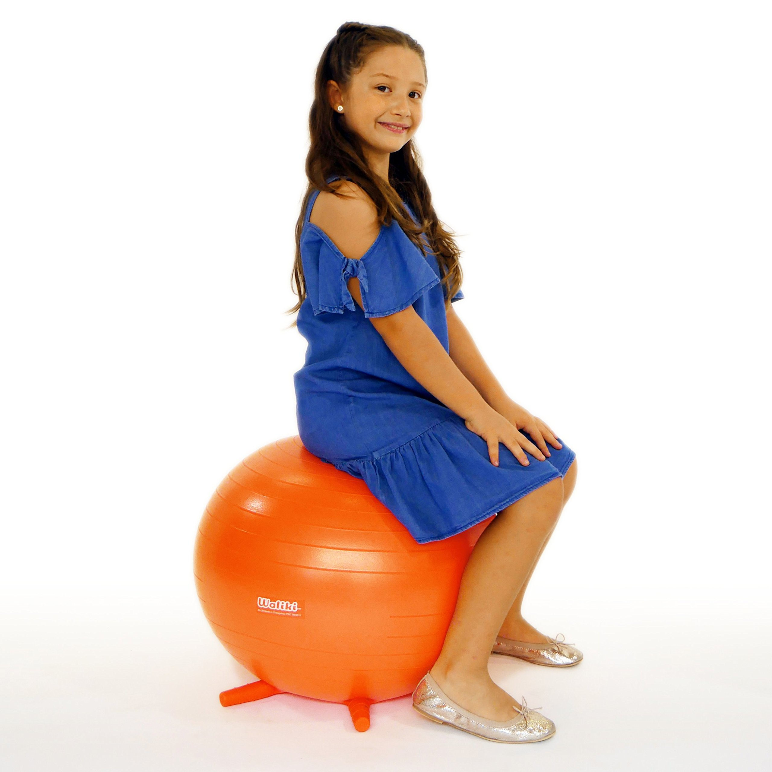 WALIKI TOYS Children's Chair Ball with Feet, Alternative Classroom Seating (Inflatable Balance Ball Chair With Stability Legs for School, Pump Included, 18''/45CM, Orange) by WALIKI (Image #8)