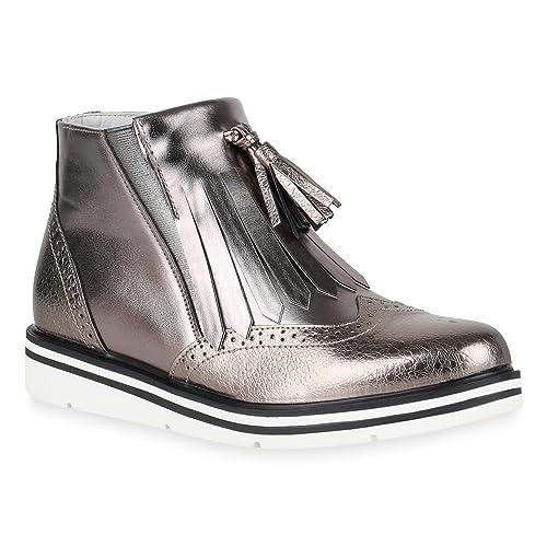 9afef02e8b57c9 Damen Klassische Stiefeletten Quasten Metallic Boots Flache Schuhe 149184  Grau Metallic Quasten 36 Flandell
