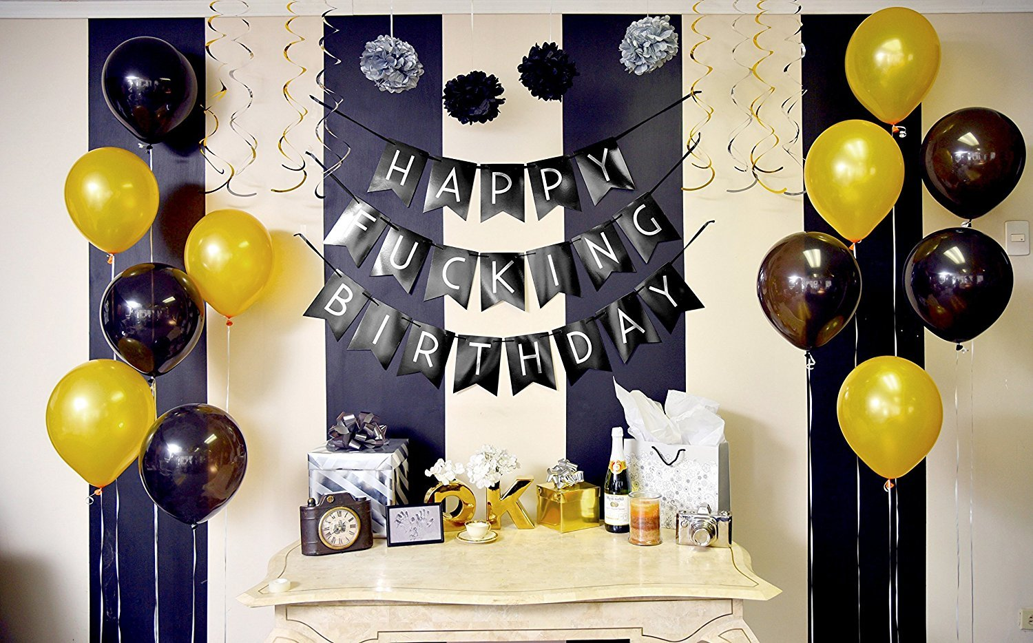 Sterling James Co Witzige Happy Birthday Girlande Schwarz Gold
