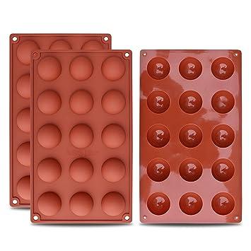 homEdge Molde de silicona semi-esfera pequeño de 15 cavidades, 3 paquetes de moldes para hornear para hacer chocolate, pasteles, gelatinas y mousse de ...