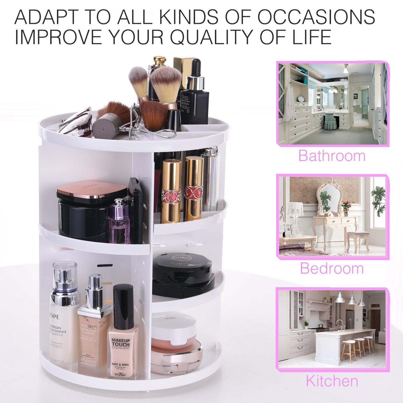 Makeup Organizer Large Capacity Cosmetic Storage Shelf 360 Rotating Vanity