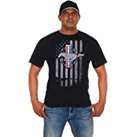 JH DESIGN GROUP Men's Ford Mustang Black T-Shirt Distressed American Flag