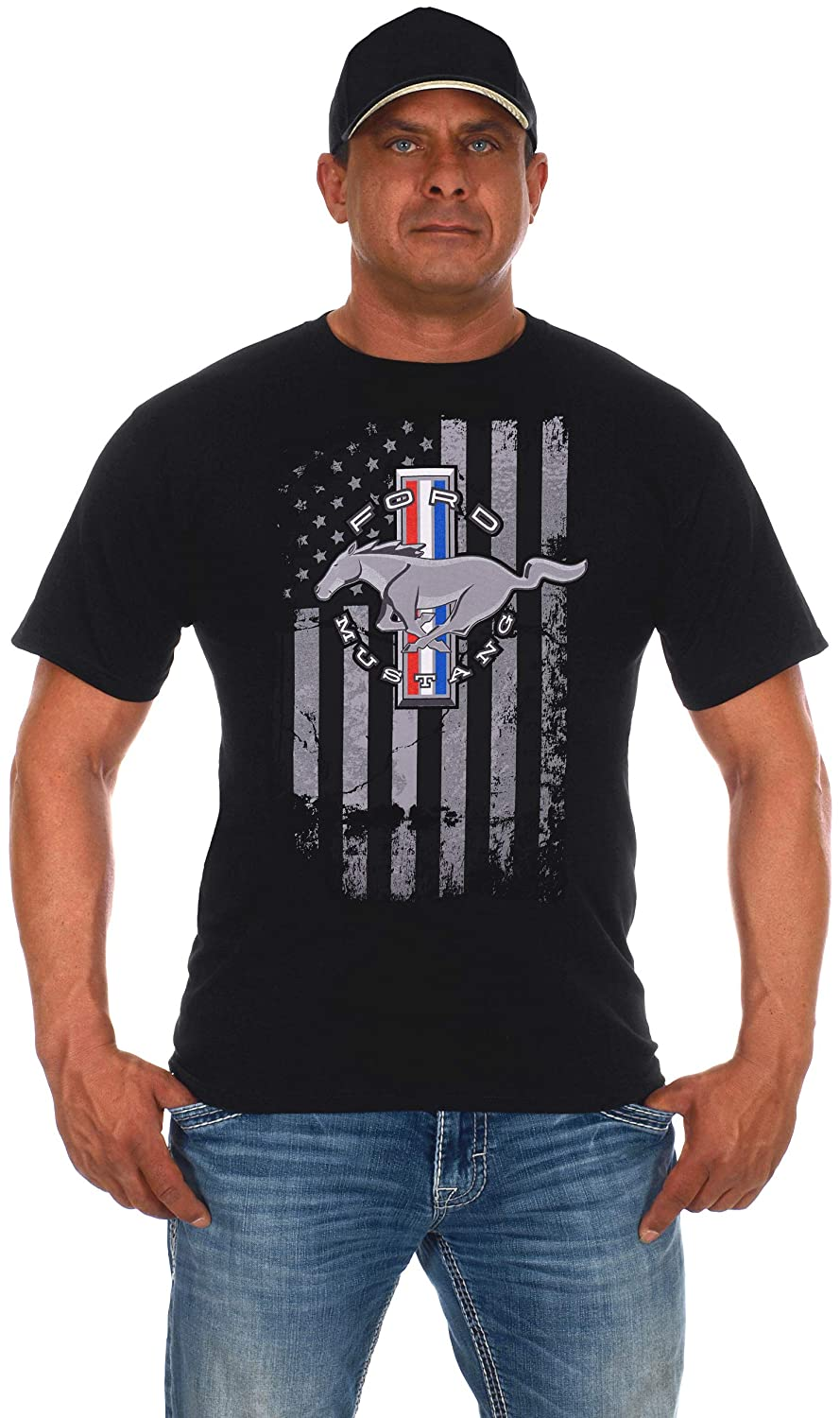 JH DESIGN GROUP Mens Ford Mustang Black T-Shirt Distressed American Flag