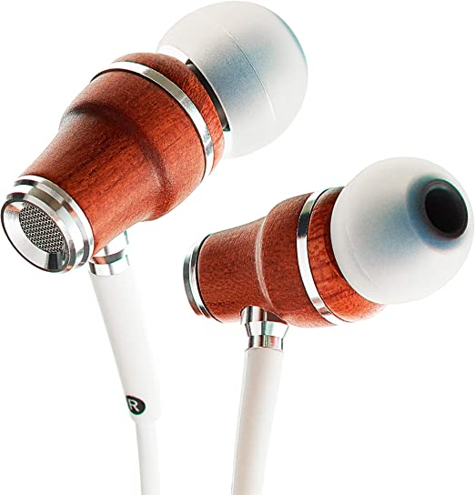 Amazon Com Symphonized Nrg X Wood Earbuds Wired With Microphone Stereo In Ear Headphones For Computer Laptop Noise Isolating Earphones For Android Cell Phone With Booming Bass White