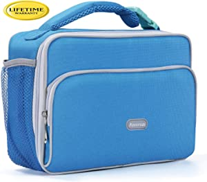 Amersun Lunch Bag, Durable Insulated School Lunch Bag with Padded Liner Keep Food Warm Cold Longer Time,Small Water-resistant Thermal Travel Office Lunch Cooler for Teen Girls Boys-2 Pockets, Sky Blue